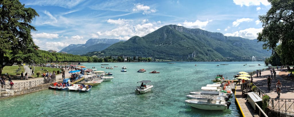 Lake Annecy france summer mountain town property