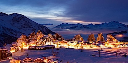 Avoriaz Ski Resort in the French Alps by Night