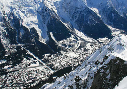 Aerial view of Chamonix from the mountains