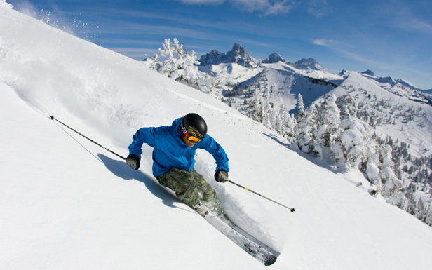 Man Skiing down the Grand Targhee