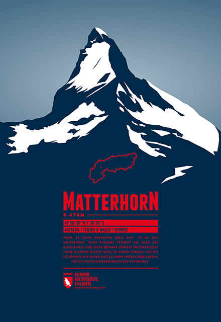Marmota Maps mountain print of the Matterhorn