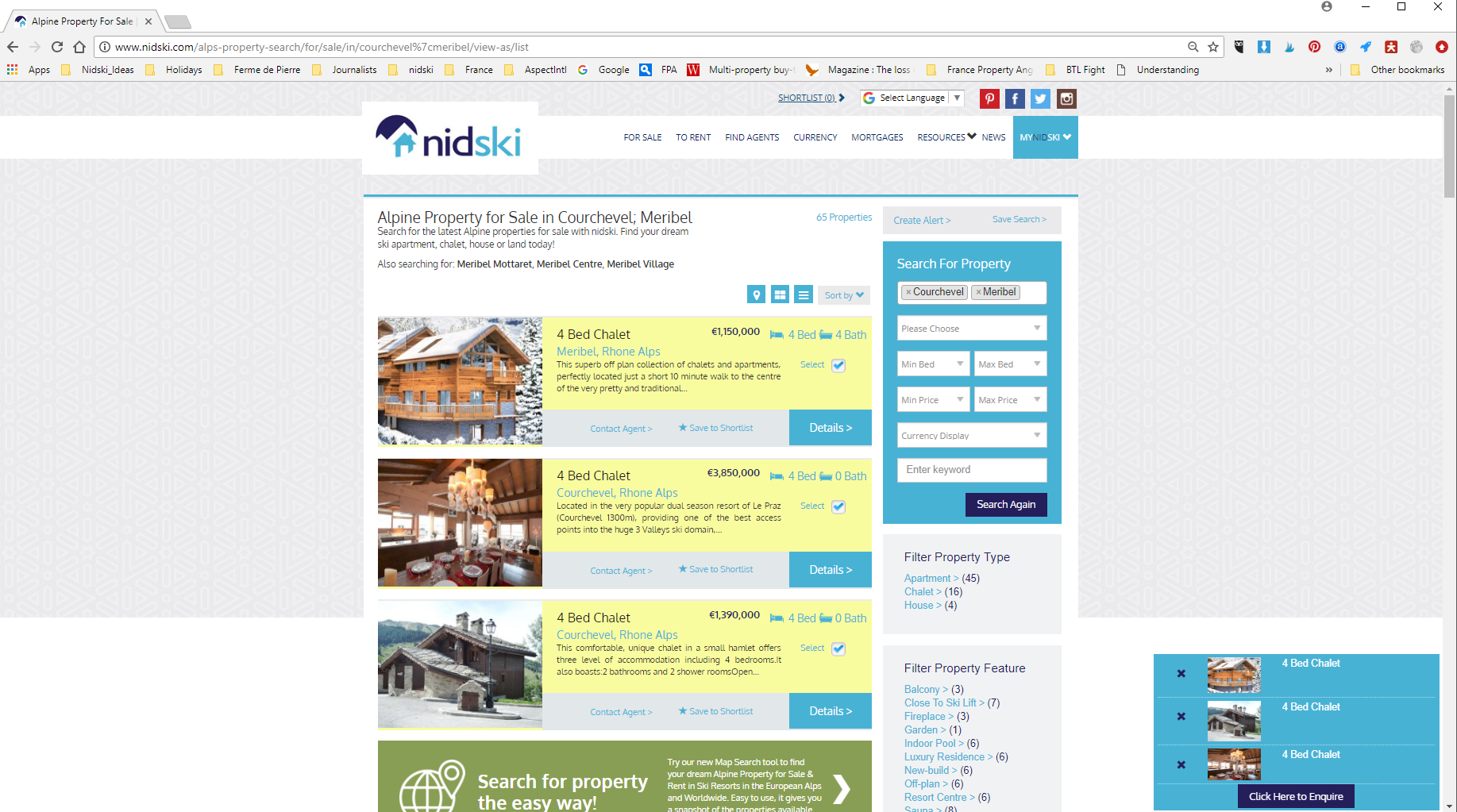 Mutliple Enquiry Search to Alpine Estate Agents with nidski.com