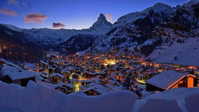 View of Zermatt & Matterhorn at night